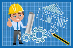 Man Architect Thumb Up Blueprint Royalty Free Stock Images