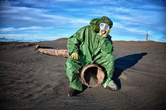 Man in the area of ​​environmental disaster Stock Images