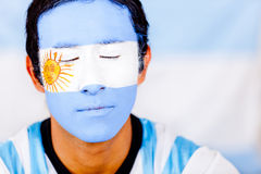 Man with Argentina's flag Stock Photography