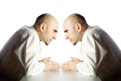 Man argues with himself Stock Photography