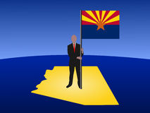 Man on Arizona map with flag Stock Images