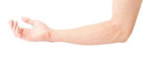 Man arm with blood veins on white background. Health care and medical concept Stock Photo
