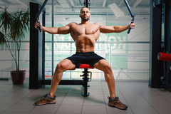 Man on the arm press machine. Bodybuilder with muscular torso working out on a gym background. Sport technology concept. Stock Photos