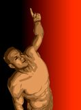 Man with arm raised and finger pointing. Illustration of a man pointing his finger stock illustration