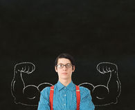Nerd geek businessman student teacher strong arm m stock image