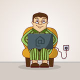 Man in armchair working at a laptop, vector illustration Royalty Free Stock Photography