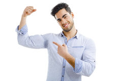Man with armpit sweat Stock Images