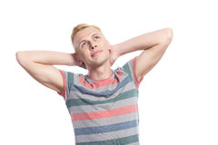 Man with arms behind his head Royalty Free Stock Image