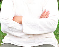 Man arms crossed in front. Royalty Free Stock Images