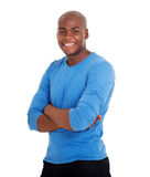 Man arms crossed. Handsome young black man with arms crossed Royalty Free Stock Photos