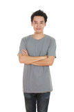 Man with arms crossed, wearing t-shirt Stock Photos