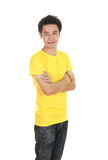 Man with arms crossed, wearing t-shirt Stock Images