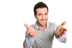 Man with arms opened looking at camera Royalty Free Stock Photos