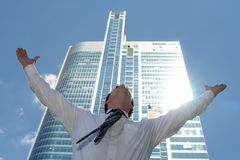 Man with arms outstretched stock photos