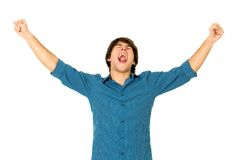 Man with arms raised Stock Photo