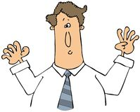 Man with arms raised. This illustration depicts a startled man with both arms raised Stock Photos