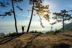 Man with arms raised on the top of a rock Royalty Free Stock Images