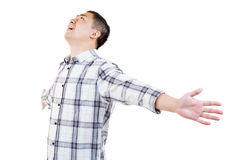 Man with arms stretched Stock Images