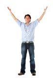 Man with arms up Stock Images