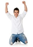 Man with arms up Stock Photography