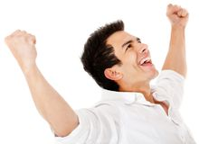 Man with arms up Stock Image