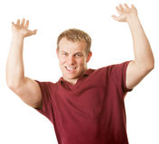 Man with Arms Up Royalty Free Stock Photo