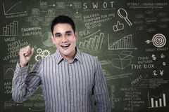 Man with arms up on chalkboard Stock Images