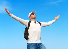 Man with arms wide open. Stock Photos