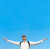 Man with arms wide open. Royalty Free Stock Photography