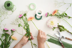 Man arranging flowers Royalty Free Stock Photo