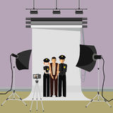 Man arrested photo in police. With two policemen. Flat  stock illustration Stock Image