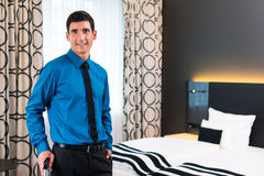 Man arrival in hotel Royalty Free Stock Images