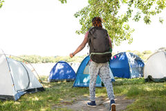 Man arriving at music festival Royalty Free Stock Photos