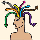 Man with  arrow  that leave their head. Man with  arrow of different colors that leave their head Royalty Free Stock Image