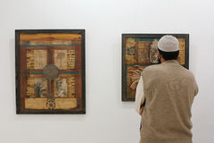 Man at art exhibition Stock Photography