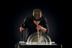Man artist blowing many soap bubble Stock Photos