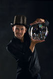 Man artist blowing many soap bubble Royalty Free Stock Images