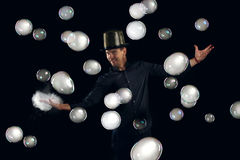 Man artist fiddle with many gel soap bubble Stock Photos