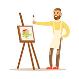 Man artist holding palette and brush standing near easel. Craft hobby and profession colorful character vector Royalty Free Stock Photo