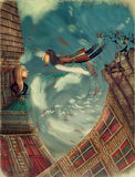Man, as bird. Illustration shows a man in sky.He grows into a bird.A girl stands on a balcony and looks in sky Stock Photography