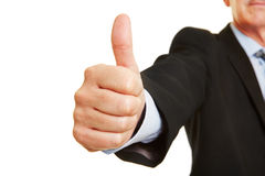 Man as manager holding thumb up Royalty Free Stock Image