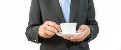 Man as an official, representative, advocate or reseller. Man as an official, representative, agent or salesman with coffee cup Royalty Free Stock Photo