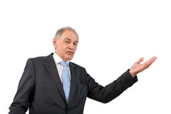 Man as an official, representative, advocate or reseller. Man as an official, representative, agent or salesman pointing at something Royalty Free Stock Image