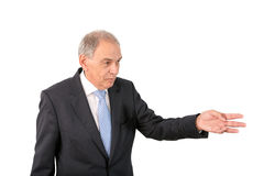 Man as an official, representative, advocate or reseller. Man as an official, representative, agent or salesman pointing at something Royalty Free Stock Images