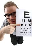 Man as ophthalmologist Stock Photo
