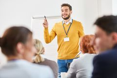 Man as speaker and consultant. In business presentation at seminar royalty free stock images