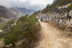 Man ascending mountait path trail. Stock Photography