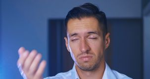 Man is ashamed and rejected for what he saw. Businessman covering face like Facepalm expressing Frustration or Shame. stock footage