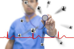 Man asia doctor show stethoscope icon human. Red EKG wave and cliping path stock photos