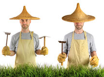 Man with Asian straw hat Royalty Free Stock Images